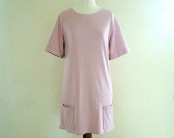 Dusky pink tunic dress, jersey dress, t shirt dress, dusky pink, pink dress, pink t-shirt dress,tunic dress, spring dress, summer dress