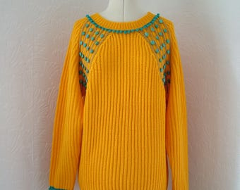 Restyled yellow jumper, teal blue, pompom, UK 14, US 12, zero waste, turquoise gemstones, refashioned, sweater, pullover, sunflower yellow