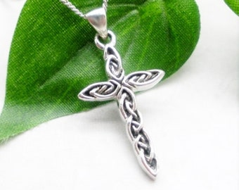 Silver Cross Necklace, Sterling Silver, Religious Jewelry, Everyday, Faith, Easter Necklace, Christian, Communion, Confirmation