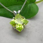 Peridot Green CZ Necklace, Sterling Silver Chain, Diamond Shape Jewelry, Princess Cut Cubic Zirconia, August Birthstone Pendant