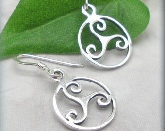 e70652a76 Sterling Silver Triskele Earrings, Triskelion Earrings, Irish Jewelry,  Celtic Knot Earrings, Triple Spiral Earrings, Irish Gift for Her