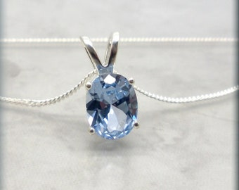 Sterling Silver Cable Chain 8 millimeter Spring Ring Closure Free Shipping. Blue Spinel Necklace 2 carat Round Gemstone