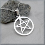 Pentacle Necklace, Pentagram Necklace, Sterling Silver, Pentagram Pendant, Wiccan, Spiritual Jewelry, Pagan Jewelry
