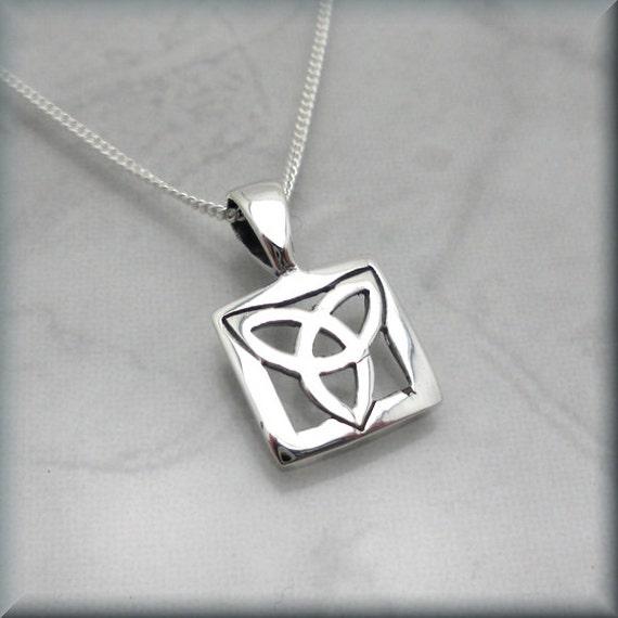 Small Trinity Knot Necklace Celtic Triquetra Irish Jewelry Etsy