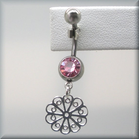 Wedding Crystal Belly Ring Sparkling Feminine Surgical Steel Summer Body Jewelry Sterling Silver Simple Flower Dangle Body Candy