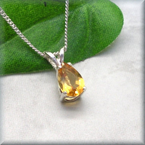 teardrop pendant Citrine Necklace wire wrapped faceted yellow citrine