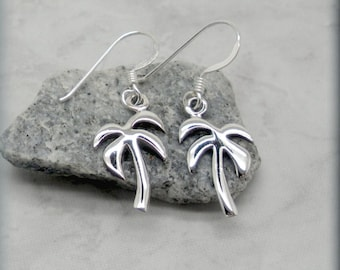 Palm Tree Earrings, Sterling Silver, Summer Earrings, Beach Earrings, Beach Jewelry, Tropical Earrings, Dangle, Minimalist, Nature