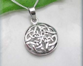 Round Celtic Knot Necklace Sterling Silver Irish Jewelry