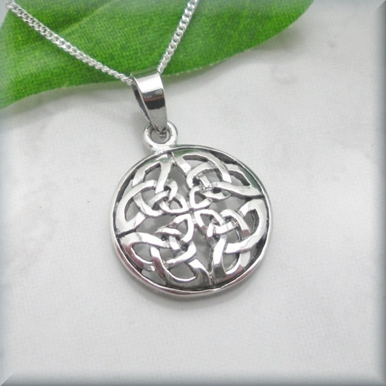 d91b27a68895c Round Celtic Knot Necklace, 925 Sterling Silver, Irish Jewelry, Geometric  Necklace, Silver Pendant, Infinity Knot Necklace, Celtic Jewelry