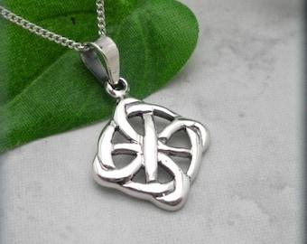 Celtic Everlasting Circle Necklace, Square Pendant, Irish Jewelry, Sterling Silver Celtic Pendant, Celtic Knot Necklace, Minimalist