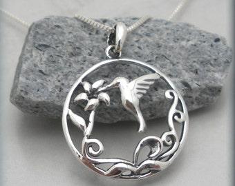 Hummingbird Necklace, Hummingbird Jewelry, Bird Necklace, Flower Jewelry, Nature Jewelry, Sterling Silver
