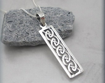Celtic Knot Necklace Bar Necklace, Birthday Day Gift for Her, Sterling Silver Irish Jewelry Rectangle Pendant
