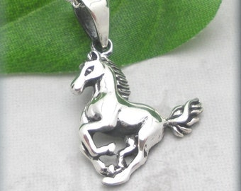 Running Horse Necklace, Sterling Silver, Horse Pendant, Western Jewelry, Equestrian Jewelry, Animal Necklace