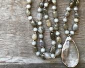 SALE - Hand Knotted Labradorite Nugget, Wood Bead & Soldered Vintage Crystal Necklace