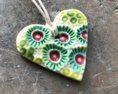 Candy coloured coral heart porcelain pendant