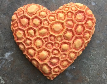 Orange Honeycomb Coral Heart porcelain wall sculpture tile