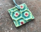 Turquoise honeycomb coral square porcelain pendant