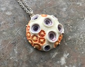 Purple craters Coral porcelain pendant with sterling silver claw setting and chain