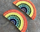 Pair-can be shipped to two different UK addresses-Rainbow of Hope 7&8-porcelain wall sculpture-Textured colourful ceramic
