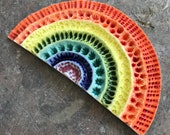 Rainbow of hope Number 3-porcelain wall sculpture-Textured colourful ceramic