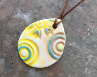 Bright Targets porcelain pendant