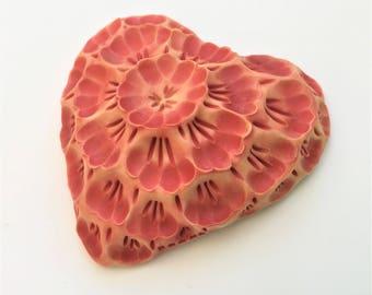 Red Orange Primula Floral Heart porcelain wall sculpture tile