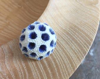 Blue starburst coral porcelain brooch