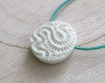 Coral Dot porcelain pendant