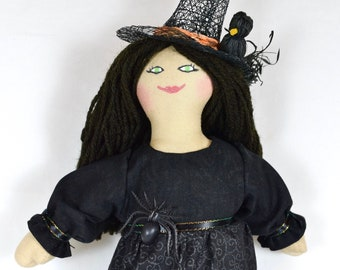 Halloween Witch Doll With Spider & Crow - Spooky Toy Or Decoration For Kids, Adults