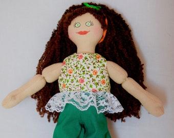 Brunette Girl Doll - Handmade For Kids - Toy