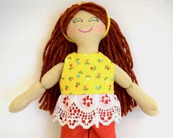 Girl Doll With Red Hair - Toys For Children - Handmade Rag Doll