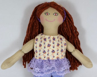 Girl Doll With Red Hair - Toy For Kids - Doll With Clothes - Handmade