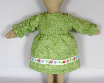 Toy Doll Clothing: Green Dress & White Bloomers - Fits 9 Inch Dolls