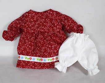 Red Dress & White Bloomers - Doll Clothes - Fits 9 Inch Dolls - Handmade Toy
