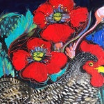 ACEO art reproduction -Poppy Chicken, Maria Pace-Wynters