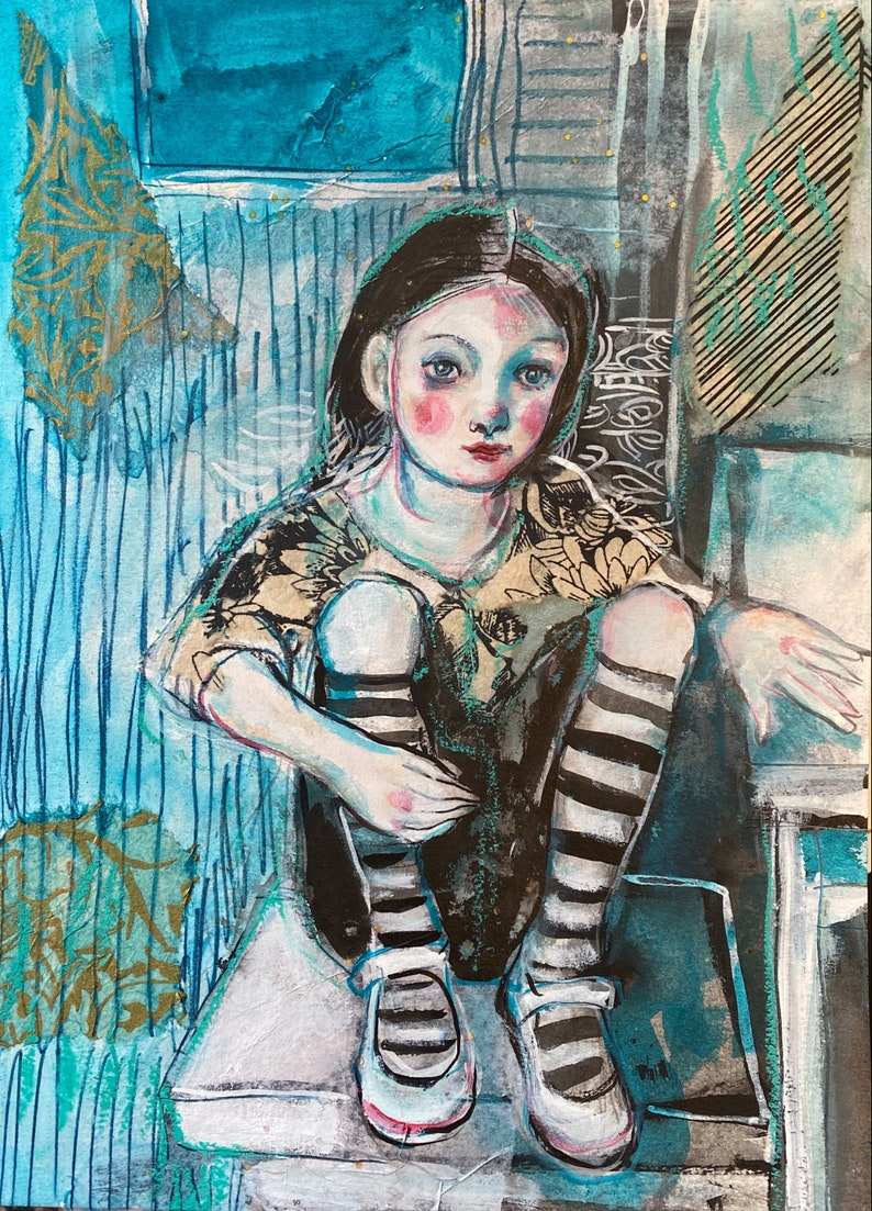 Girl In Striped Socks Original mixed media painting by Maria image 0