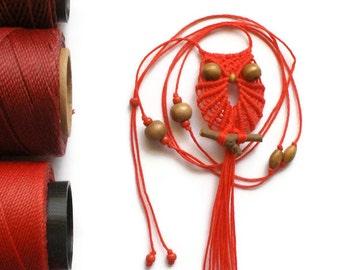 Shocking Red Macrame Owl Necklace