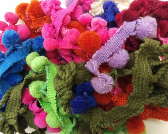 Vintage 1960s 1970s Pom Poms Dingle Balls 192 On A Band Pink 147 In Length Arts Crafts Sewing