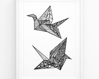 Origami Crane Poster Black White Wall Art Geometric Bird INsTAnT DOwNLoAD Handmade Illustration Design