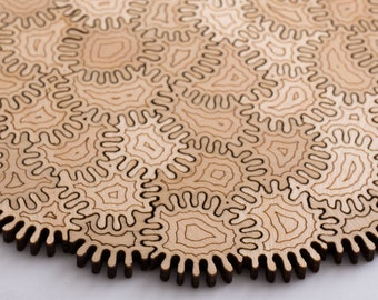 Patchwork Amoeba Puzzle - challenging wood jigsaw puzzle, laser cut