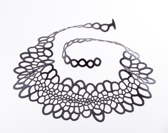 Sinuate Necklace | lasercut rubber jewelry | statement necklace | Corollaria collection