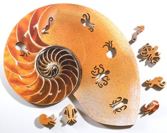 Nautilus Puzzle - wooden jigsaw puzzle by Nervous System