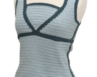 Crochet Pattern--Contrast Trim Top