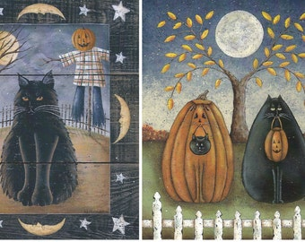 Halloween! The Bewitching Mrs. B or Trick or Treat. Folk Art autumn/fall black cat, pumpkin, scarecrow art prints by Donna Atkins. Free Ship