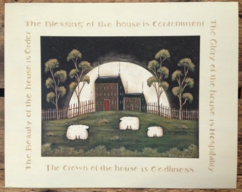 The Blessing of the House is Contentment. 16x20 New England style Prim Folk Art Inspirational Print by Donna Atkins. Sheep Saltbox Full Moon