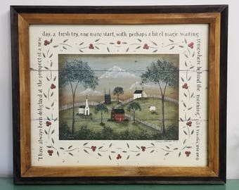 A NewDay, primitive pastoral landscape print; J.B. Priestley quote. Village church sheep. Donna Atkins New England style folk art. FREE Ship