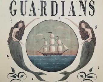Guardians of the Sea Mermaid Art Print. Schooner Ocean Sirens. New England Style Coastal Beach House Primitive Folk Art. Beach Cottage Decor