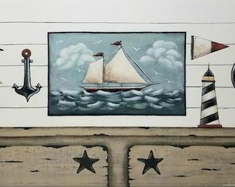 Nautical Cupboard Still Life Art Print. Beach House Cottage Ocean Folk Art by Donna Atkins. Greige Gray Tan Black Blue. Ship Lap, Schooner..
