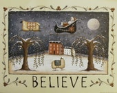 Whimsical BELIEVE Folk Art Santa and Sheep Print, Country Farmhouse Cottage decor. The Night Before Christmas