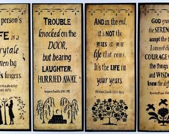 Primitive Folkart Silhouette Quotation Print - Lincoln/Hans Christian Andersen/Ben Franklin/Serenity Prayer/Fairytale/Laughter/Life/Prayer
